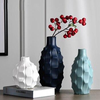 Creative Geometric facade ceramic vase high quality Handmade Arts vases moderno vase flower vases for homes wedding decoration