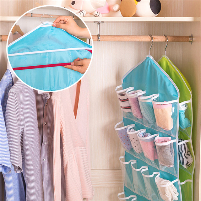16 Pockets Socks Shoe Toy Underwear Slippers Jewelry Sorting Storage Bag Door Wall Hanging Closet Organizer