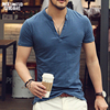 Men Polo Shirt Solid Tops Tees Short Sleeve T Shirt Men S Brand Fashion V Neck