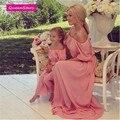 3 цвет Мать дочь платья Богемия Макси платье соответствия Мать дочь одежда Пляж длинное платье без бретелек семья посмотрите про