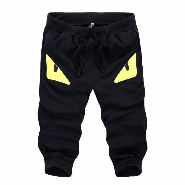 Supreme New Limited Casual Loose Cotton Mid Ankle-length Pants Military Male Cartoon Devil Eyes Seven Pants Men's Trousers Men