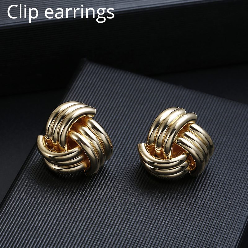 ZA Vintage Non Pierced Clip on Earrings Ear Clips Gold Geometric Metal Earring for Women Wedding Party Bijoux Brincos Jewelry