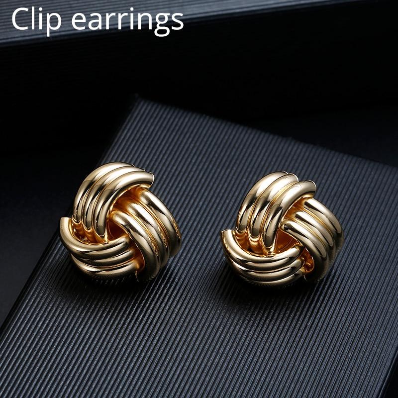 ZA Vintage Non Pierced Clip on Earrings Ear Clips Gold Geometric Metal Earring for Women Wedding Party Bijoux Brincos Jewelry