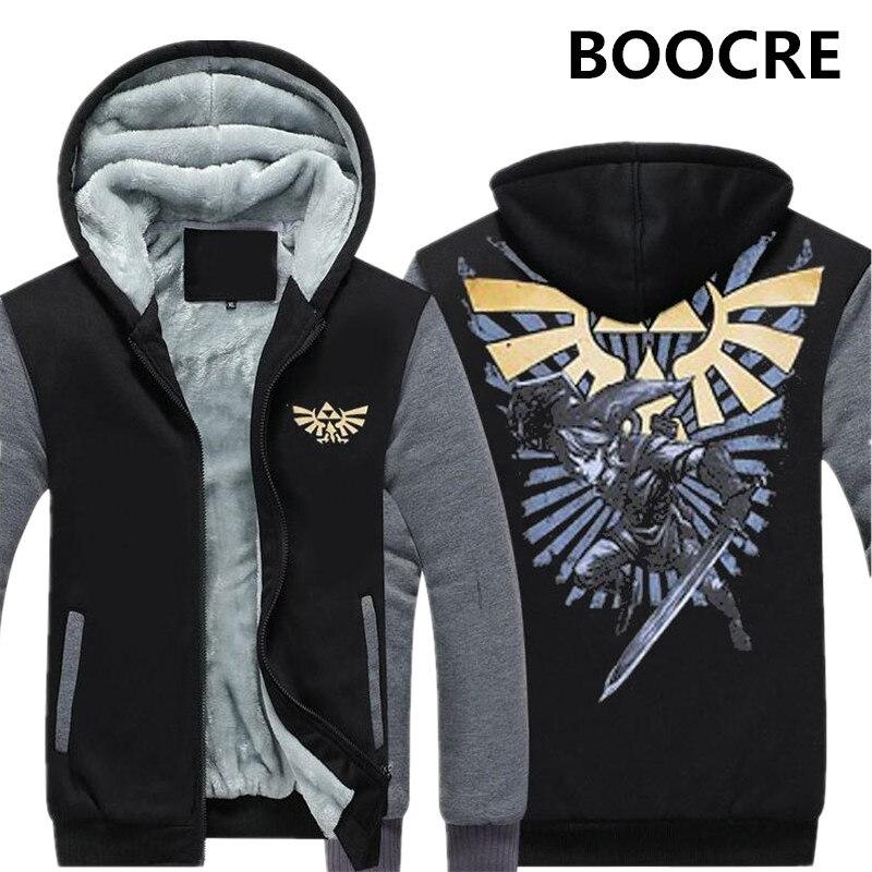 Dropshipping 2017 The Legend of Zelda Breath of the Wild Mens Zipper Hoodie Sweatshirt Jacket Fleece Thicken Jacket Coat
