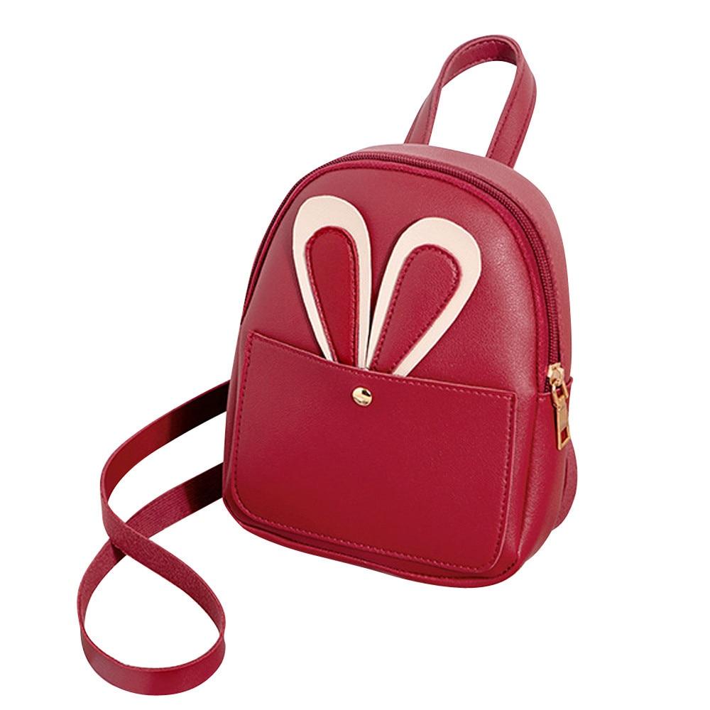 Girl mini rabbit backpack Fashion Women Pure Color Leather Student School Bag Backpack leisure Shoulder BagGirl mini rabbit backpack Fashion Women Pure Color Leather Student School Bag Backpack leisure Shoulder Bag