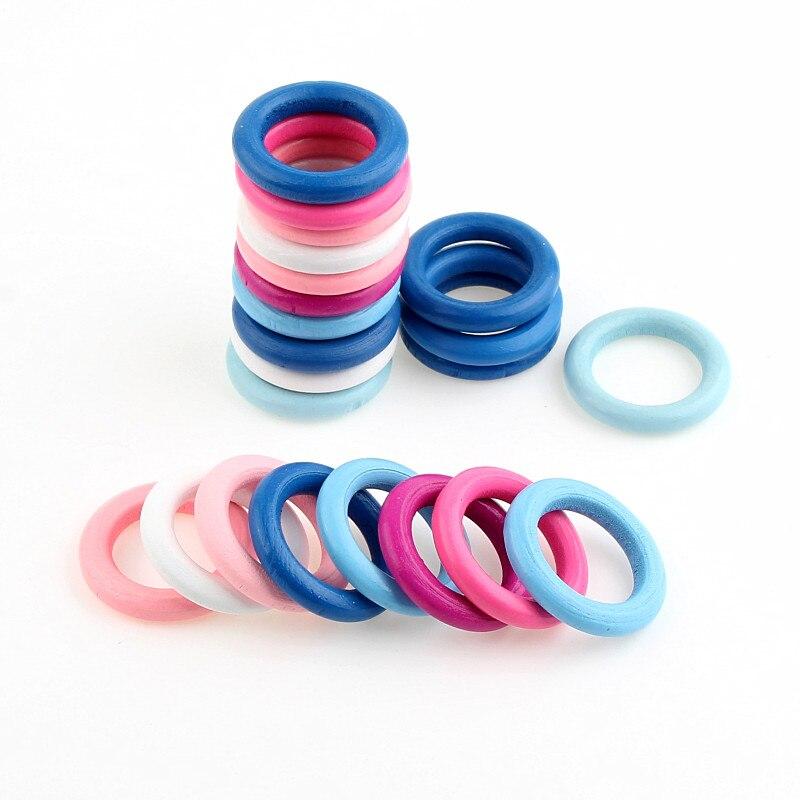 20 штук 34 мм многоцветный смешивания дерева круг Инструменты для наращивания волос для изготовления ювелирных изделий DIY Детские Прорезыват...