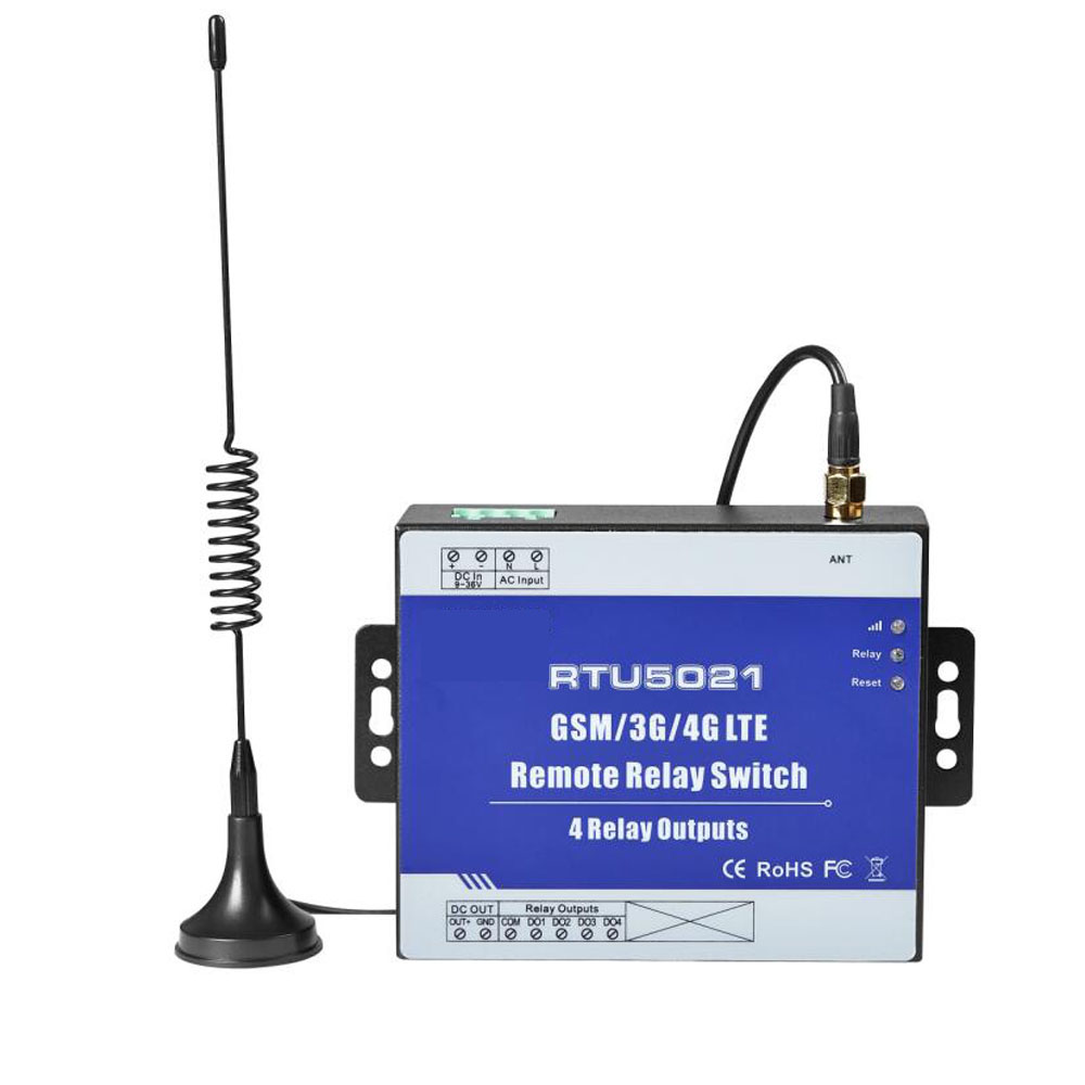 GSM TCP/IP Remote Relay Switch With 4 Channels Relay Output Supports SMS APP Web Server Control for Automation System
