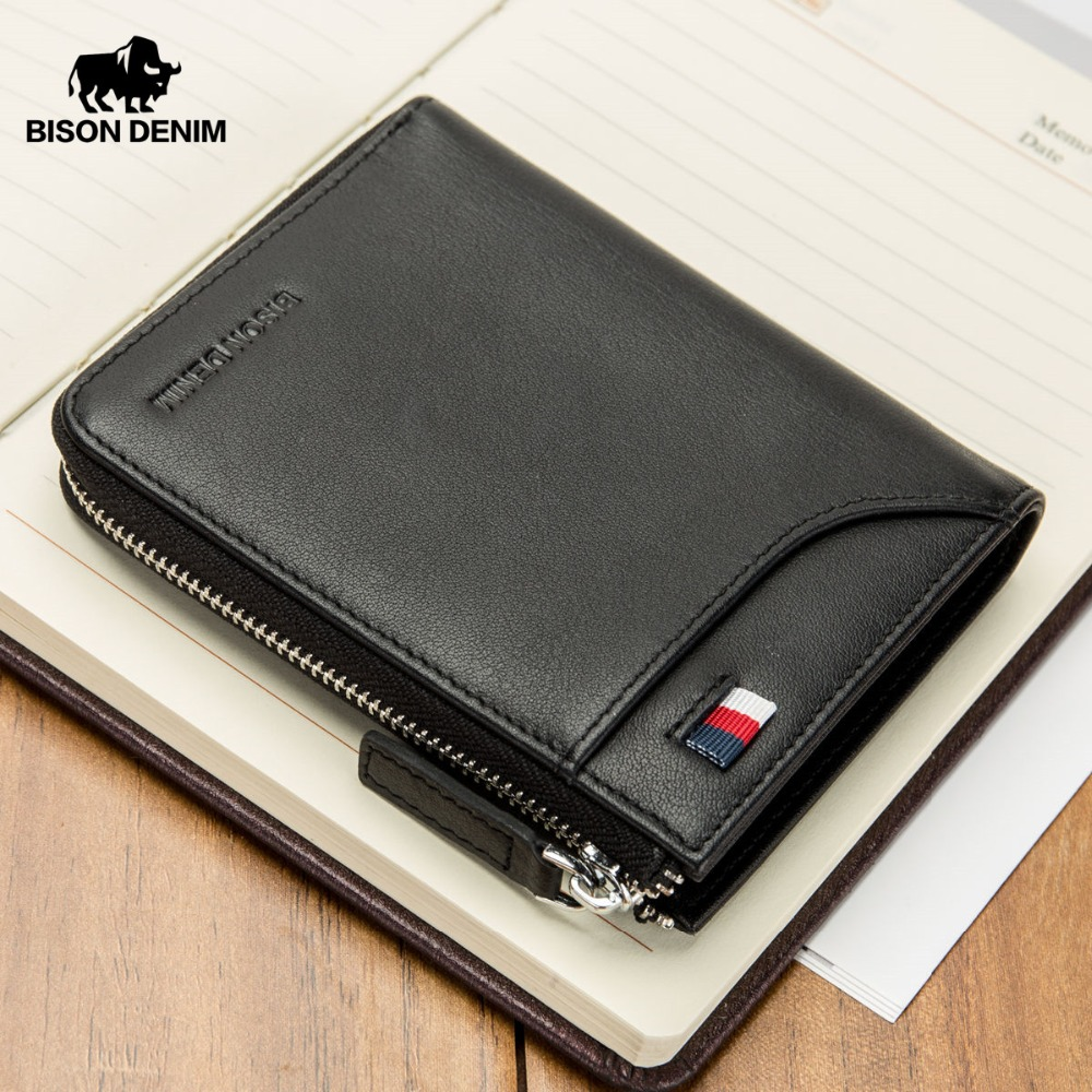BISON DENIM New Cow Leather Wallet Male Short Purse For Men Leather Money Bag With Zipper Coin Purse ID/Credit Card Holder N4478