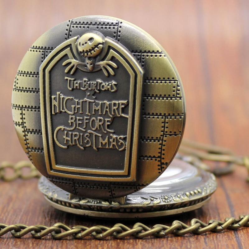 Bronze Nightmare Before Christmas Pocket Watch Montre De Poche Quartz Pocket Watch Cadeau P49C