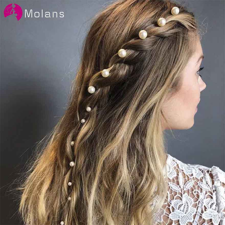 MOLANS One Set Simple Pearls Hairpin For Bridal Wedding Accessories Solid Golden Alloy Hair Clip For Elegant Women Hair Ornament