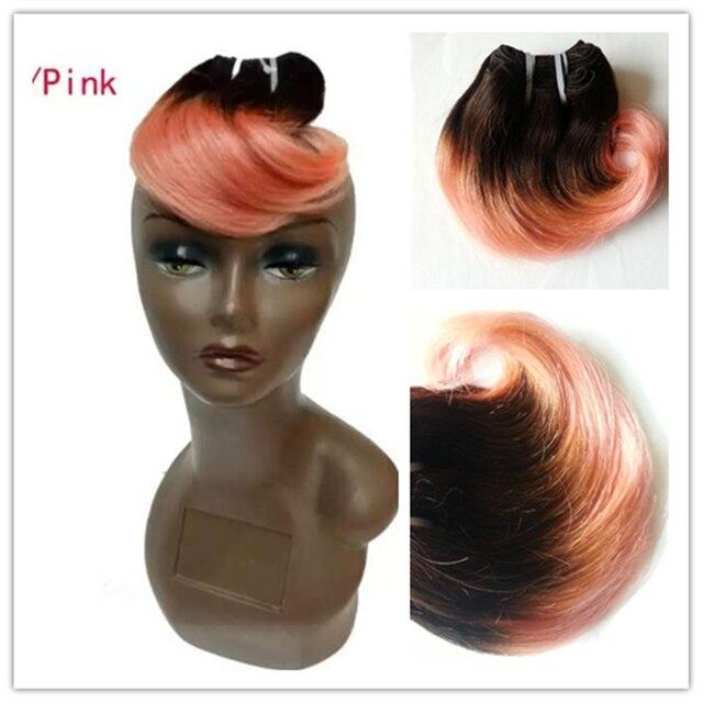 Full Shine Brazilian Short Weave Hair Extensions Remy Hair 1b Pink