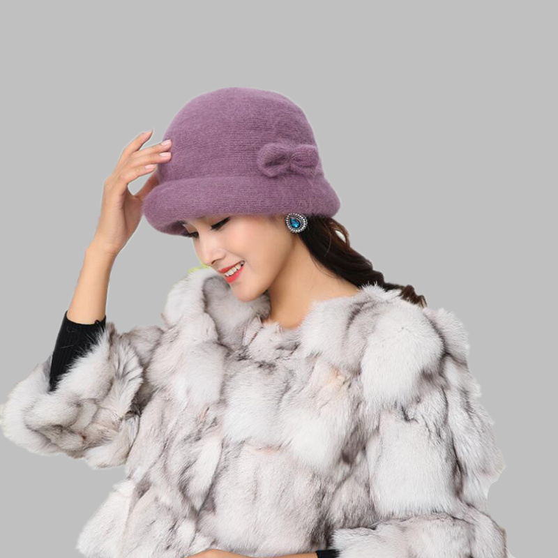 Ladies Elegant Winter warm Cap 100%  Rabbit Wool Warm Flower Floppy Hats for Women Middle Age Female Bucket Fedoras Hats For mom