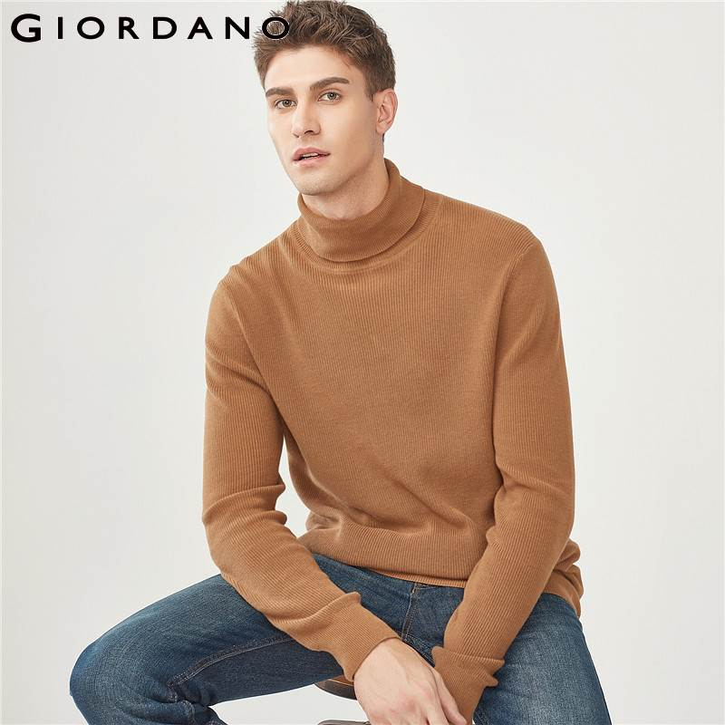 Giordano Men Sweater Men Combed Cotton Turtleneck Pullover Sweater High Neck Ribbed Cuffs Smooth Sueter Hombre For Winter Male