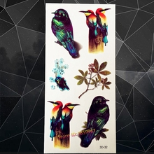 Top Quality 3D Cuckoo Birds Tattoo Stickers A3D-32 Agpie Water Color Fake Flash Children Tatoo Tree Branch Tattoo Oriole Warbler