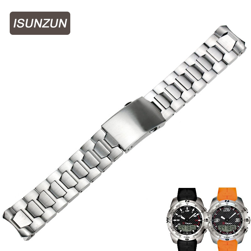 ISUNZUN Top Quality Watch Band For Tissot T Touch T013 T33 T047 Steel Watch Strap Brand Watchbands Watches Accessories