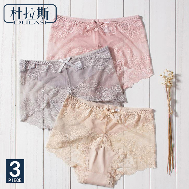 fb7e7db5bad5 Lace Panties Women Sexy Underwear Briefs Transparent Panties Bikini for  Girls Ladies High Waist Panty Nylon Hipster 3pcs/lot