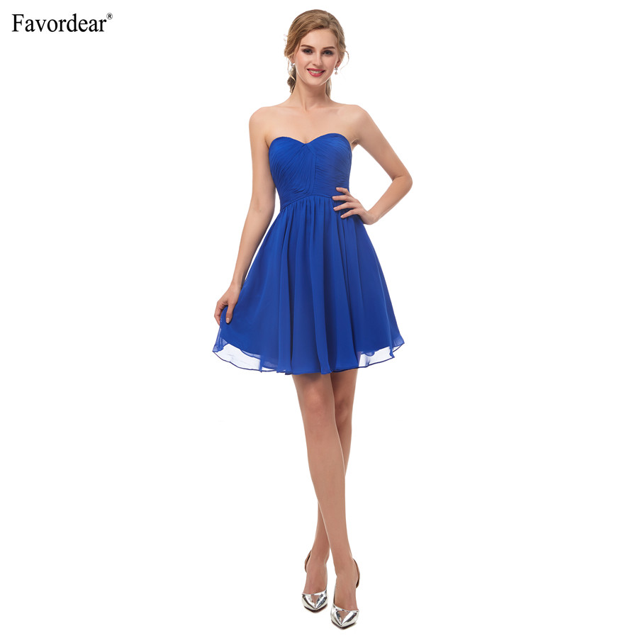 Favodear 2019 New Arrival Short Homecoming Dress Cocktail kleider 100% Real  Royal Navy Blue Sweetheart Pleated Party Dresses-in Homecoming Dresses from  ... 1d7636c3829b