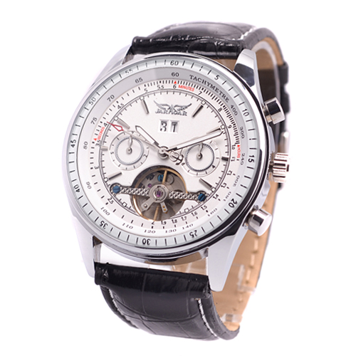 Fashion double faced revealed at cutout fully-automatic mechanical watch mens watch waterproof genuine leather watch revealed