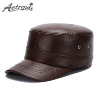 [AETRENDS] 2017 New Flat Cap 100% Genuine Leather Military Hats for Men Winter Warm Hat with Ear Flaps Z-5491