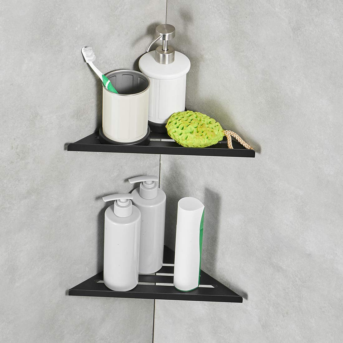 Us 19 8 40 Off Shower Corner Caddy Shower Shelf Bathroom Shelf Shower Corner Wall Mounted Stainless Steel Bath Shelf Black 3 Tiers In Bathroom