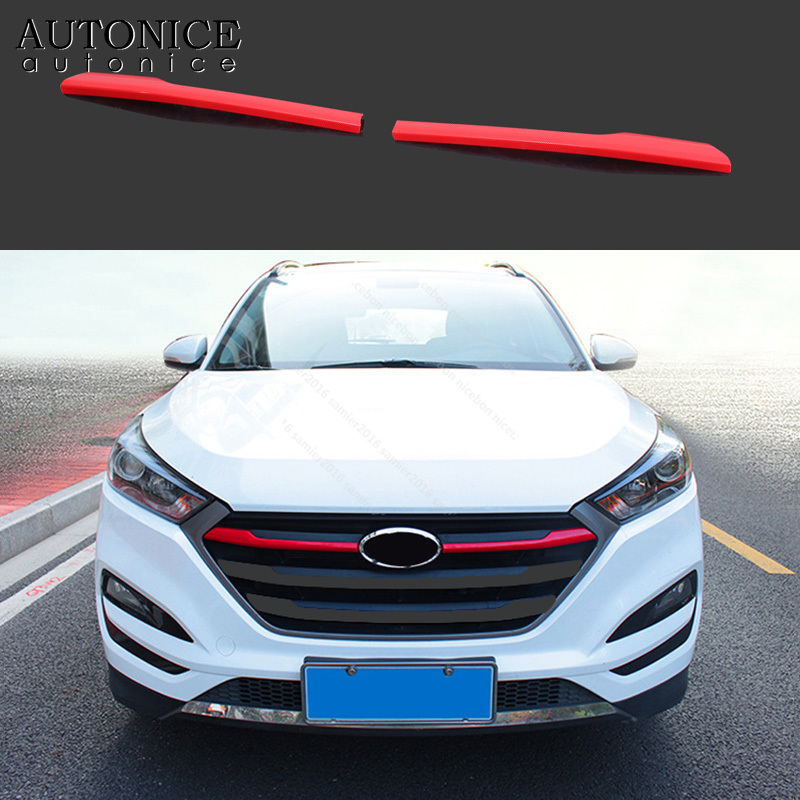 2X RED ABS Chrome Front Grille grill Cover Trim For Hyundai Tucson 2016-2018
