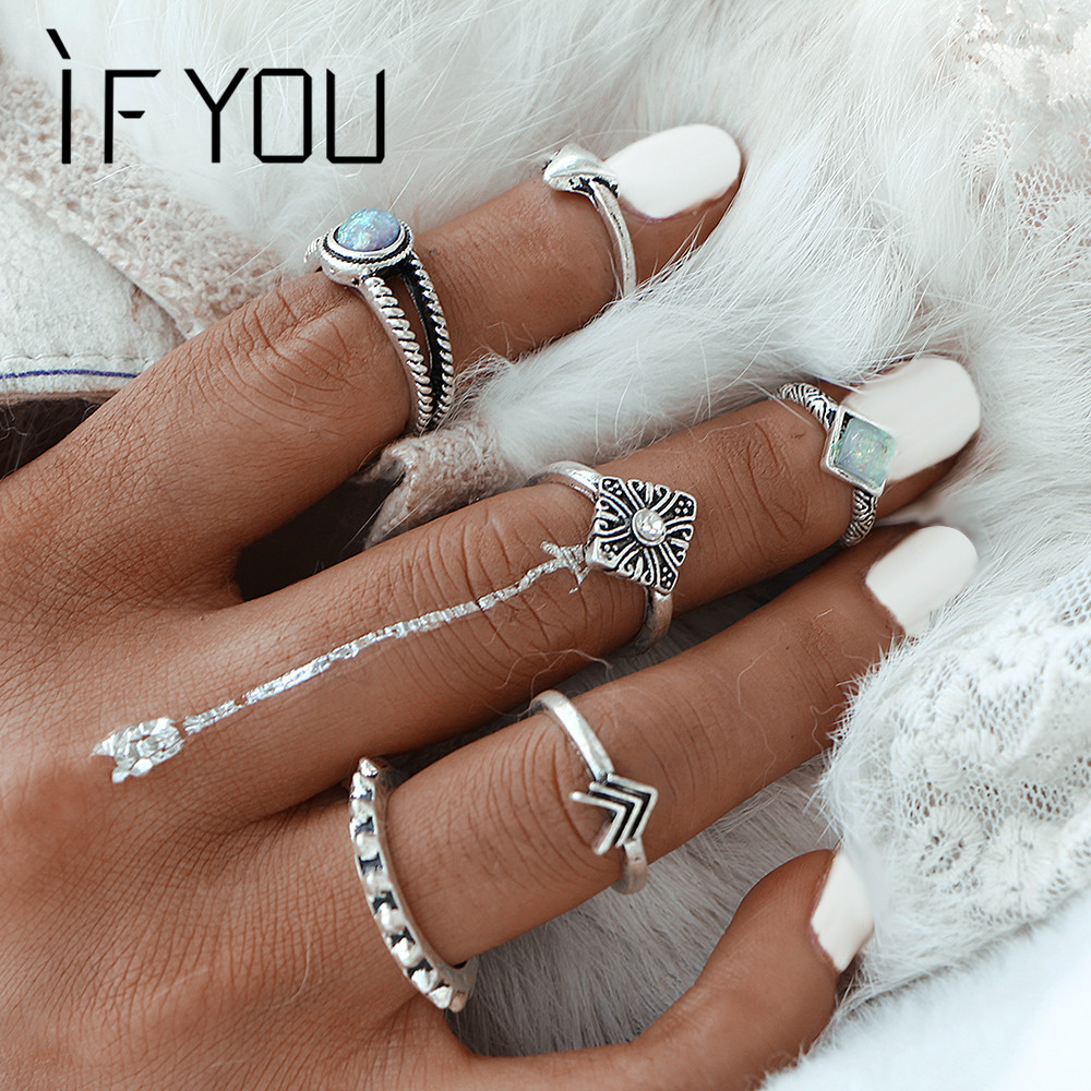 IF YOU Vintage Fashion Boho Crystal Opal Stone Jewelry Ring Set For Woman Bohemia Antique Silver Color Rings Jewelry Party Gift