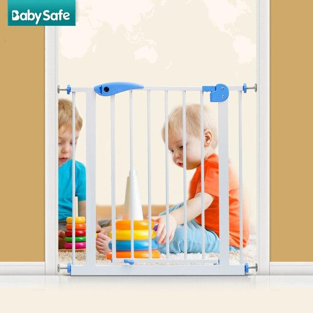 100 cm גבוהה מדרגות שער 82-90 cm רוחב תינוק בטיחות שער ברזל שער בית שער לחיות מחמד בידוד דלת לבן צבע