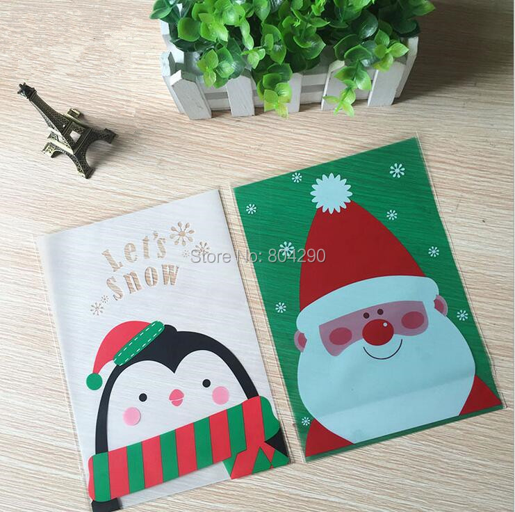Cute Cartoon Santa Claus Penguin Christmas Plastic Baking Bags