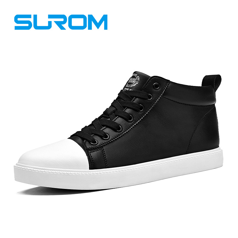 SUROM New Fashion Autumn Winter Men's Casual Shoes Black White Color Ankle Shoes For Men Round Toe Lace up Flats Super Krasovki free shipping 2017 new black brown autumn and winter full grain leather casual shoes men s fashion flats lace up shoes for men