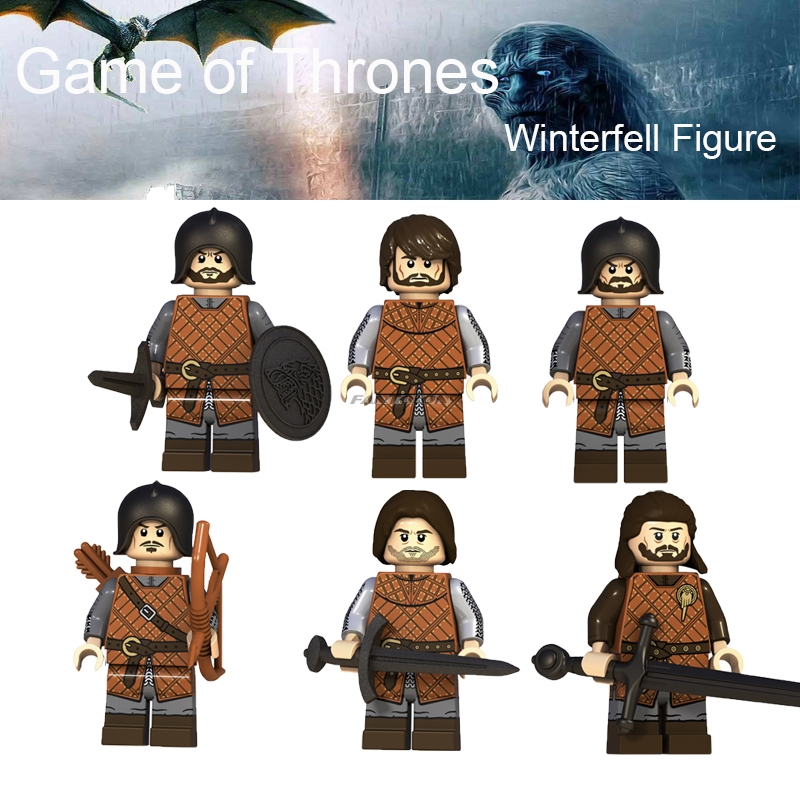 1PCS Game Of Thrones Action Figure Eddard Stark Hallis Mollen Jory Cassel Spear Infantry The Archer Building Blocks image