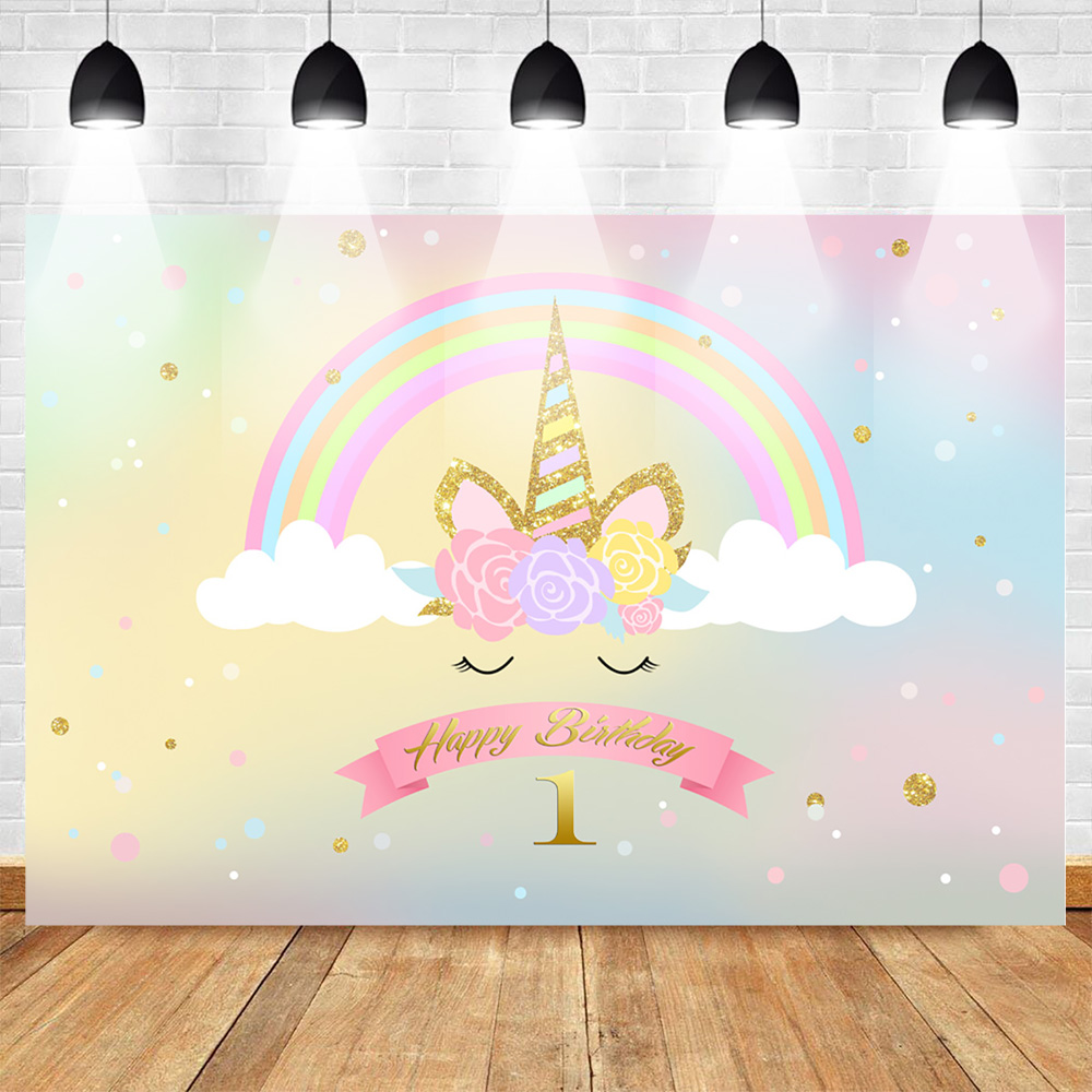 Neoback Unicorn Rainbow Photography Backdrops Happy 1st Birthday Party Photo Background for Children Shiny Colorful Baby