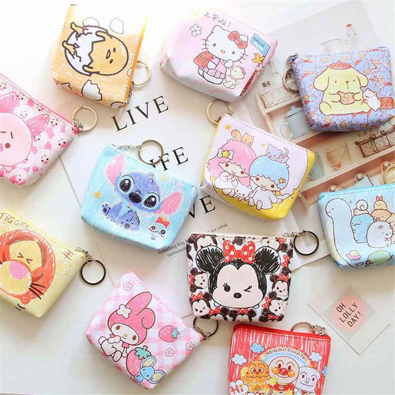 Minnie de Disney monedero de dibujos animados para niños, monedero de Mickey Mouse, regalo para niñas, bolso de almacenamiento con colgante de llave