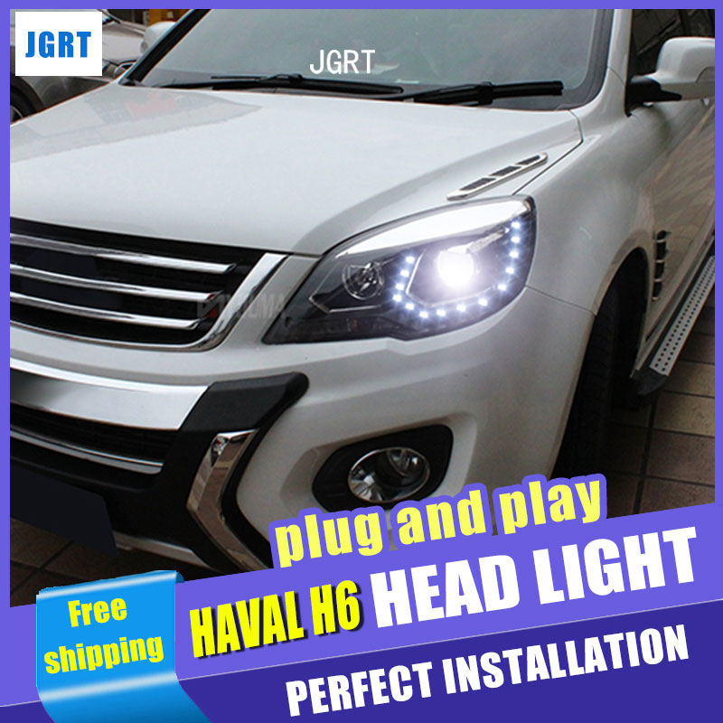car styling For Haval H6 headlight assembly U angel eyes 2012-2015 For H6 bi xenon lens h7 with hid kit 2 pcs. hireno headlamp for great wall haval h6 coupe headlight headlight assembly led drl angel lens double beam hid xenon 2pcs