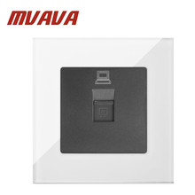 MVAVA White Crystal Glass 110V-220V UK EU European Computer RJ45 Data Internet Jack Outlet Power Wall Socket Glass Safe недорго, оригинальная цена