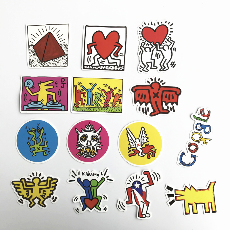 14pcs Keith Haring  Mixed Stickers For Snowboard Laptop Luggage Car Fridge Car- Styling Vinyl Decal Home Decor Sticker Pegatinas