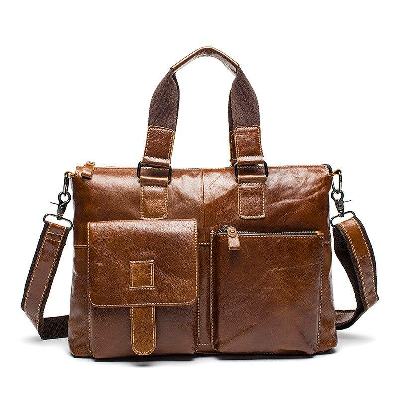 Fashion Vintage Men's Genuine leather Briefcases portfolio bags ...