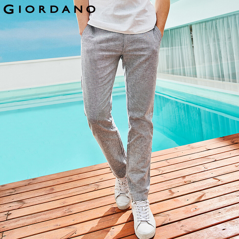 Giordano Men Pants Men Natural Linen Cotton Low Rise Casual Pants Men Zip Button Front Slant Pocket Pantalon Homme 2019