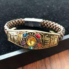 Avengers: Infinity War Thanos Gauntlet Original Jewelry Gold Hand Chain Zinc Alloy Bracelet Cosplay Props Size 9