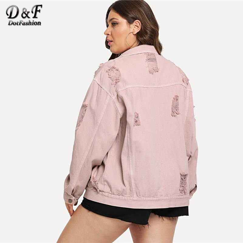 3f17b3342c4 Aliexpress.com   Buy Dotfashion Enjoy Plus Size Beauty Purple Pocket Ripped  Denim Jacket Women Casual Autumn Long Sleeve Clothing Spring Plain Coat  from ...