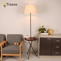 TRAZOS Wooden Floor Lamp Modern Living Room Bedroom Study Floor Standing Lamps White Fabric wooden floor lights Deco