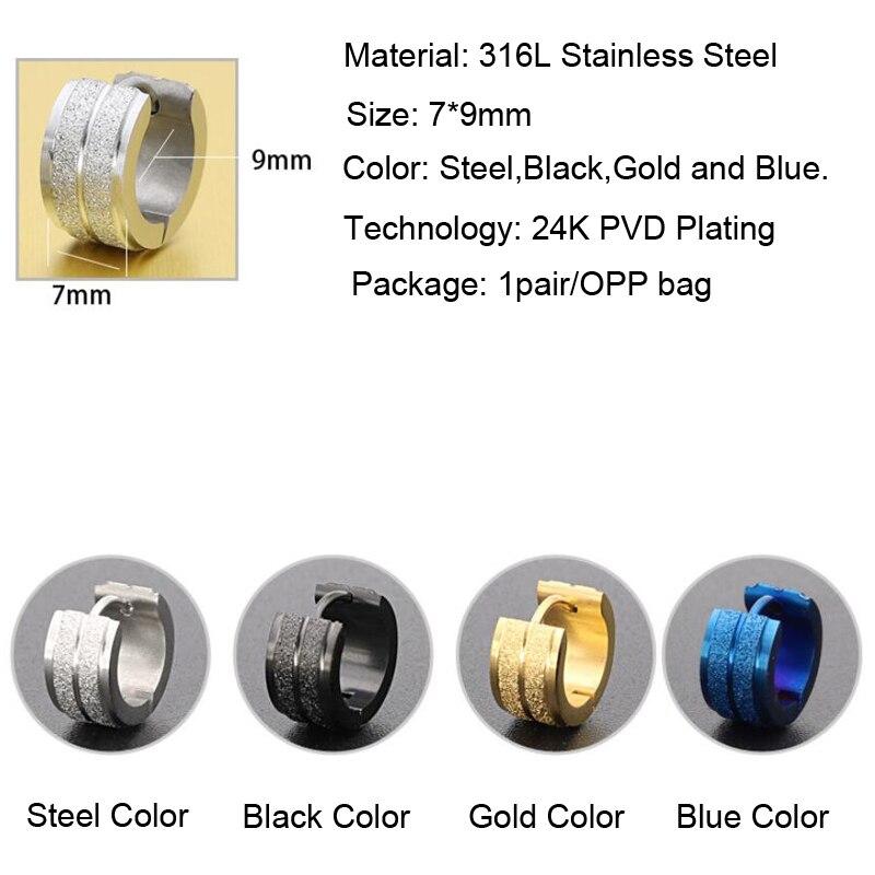 1 Pair 316L Stainless Steel Ear Piercing Jewelry Double Sand Hoop Huggies Earrings For Men Women