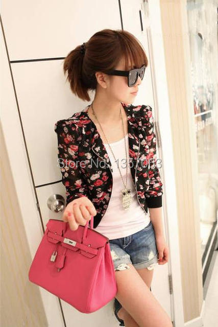 Cheap Stylish Woman Small Coat Floral Printed Flowers Open Front ...