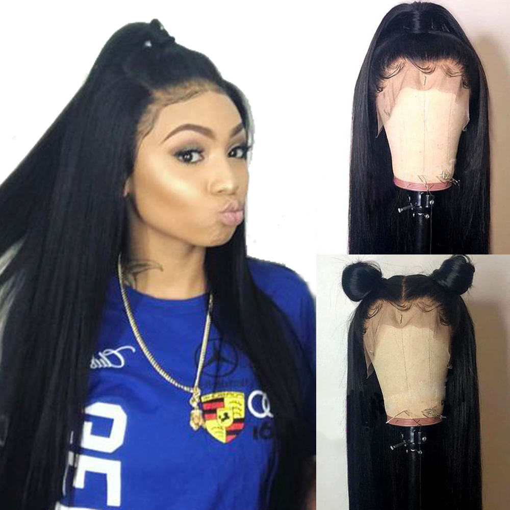 360-Lace-Frontal Wig Human-Hair-Wigs Straight-Hair Brazilian with Knots Remy Pre-Plucked