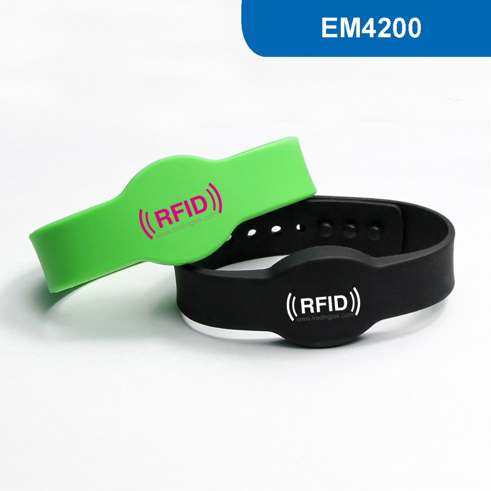WB04 Silicone RFID Wristband RFID Bracelet Proximity Smart EM Card Frequency 125KHz for Access Control With EM4200 Chip купить