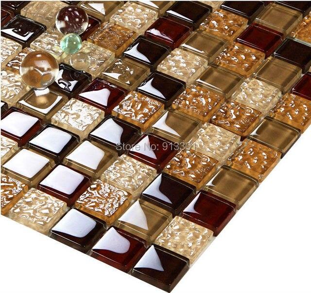 € 206.29 |Cristal carreaux de verre dosseret pas cher brun carreaux de  mosaïque de verre miroir LGT108 cuisine dosseret salle de bains carreaux de  mur ...