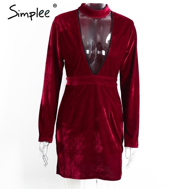 Simple Sexy halter lace velvet dress women Side split party bodycon dress Autumn winter high waist red dress vestido de festa