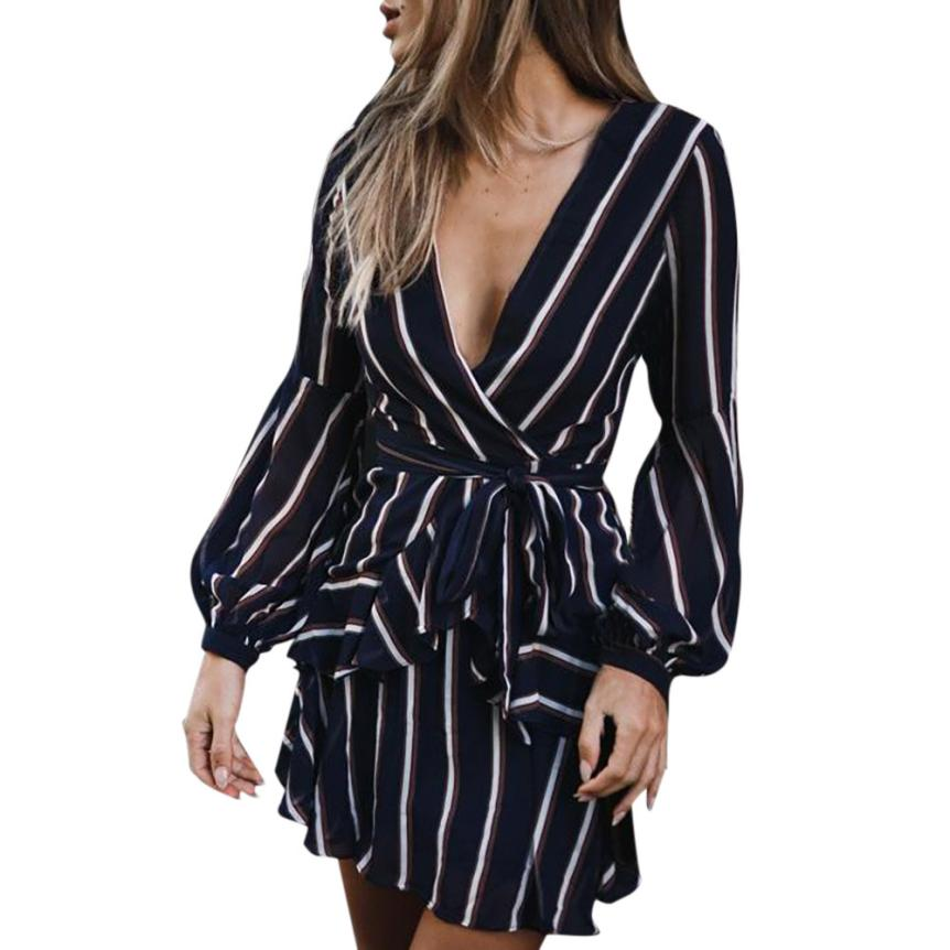 KANCOOLD Dress Women's Fashion Lantern Sleeve Casual Striped V-Neck Dress Casual Ruffle Mini Party Dress women 18AUG9 5