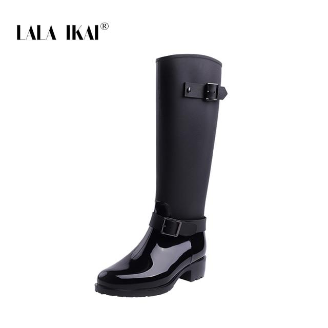 f2c20e3056a LALA IKAI Women Rain Boots Hunter Zipper Med Heel Waterproof PU Buckle  Patchwork Over The Knee Boots 014C2983 -49
