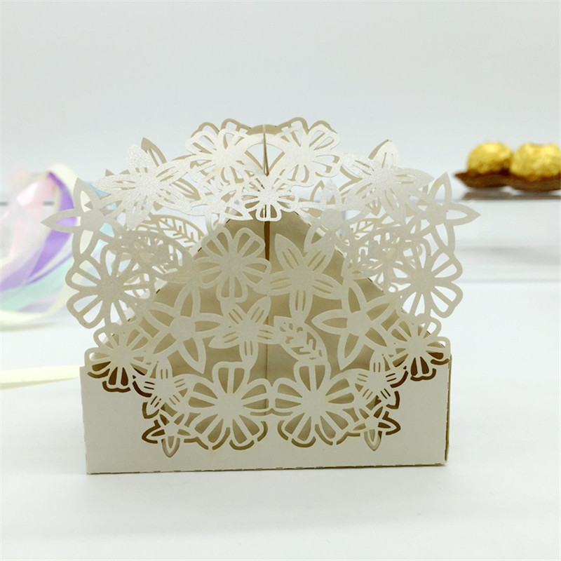 Laser cut flower wedding candy box wedding favors and for Home decor and gifts