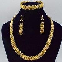2018 Bridal Gift Nigerian Wedding African Beads Jewelry Set Brand Woman Fashion Dubai Gold Color Jewelry Set Wholesale Design201